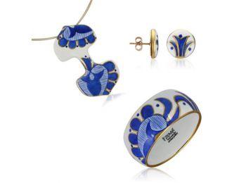 Kék mintás sárközi dupla medál bedugós fülbevalóval