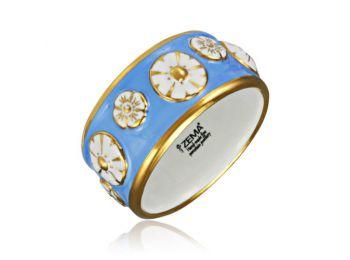 Nefelejcs arannyal festett világoskék porcelán karkötő