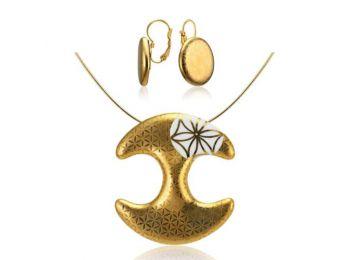 Bronzkori arany medál franciakapcsos fülbevalóval