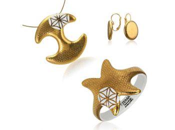 Bronzkori arany medál franciakapcsos fülbevalóval és karkötővel
