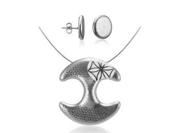 Bronzkori platina medál bedugós fülbevalóval