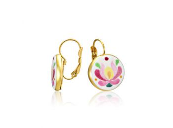 Rózsaszín aranyozott matyó fülbevaló (francia kapcsos)