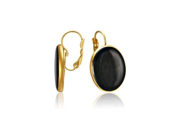 Arannyal festett ovális fekete fülbevaló (franciakapcsos)