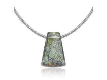 Van Gogh platinával festett porcelán nagy medál ezüst p�