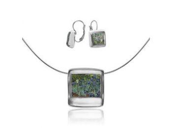 Van Gogh platinával festett porcelán négyzetes medál fra