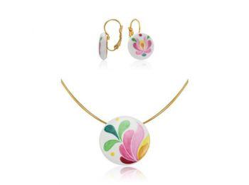 Rózsaszín matyó kis kerek medál franciakapcsos fülbevalóval