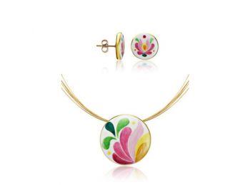 Rózsaszín aranyozott matyó kis kerek medál bedugós fül