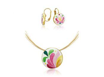 Rózsaszín aranyozott matyó kis kerek medál franciakapcso
