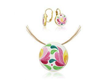 Rózsaszín aranyozott matyó nagy kerek medál franciakapcs