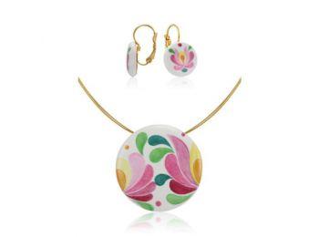 Rózsaszín matyó nagy kerek medál franciakapcsos fülbeva