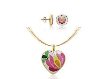 Rózsaszín aranyozott matyó szív medál bedugós fülbevalóval