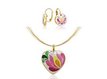 Rózsaszín aranyozott matyó szív medál franciakapcsos fülbevalóval