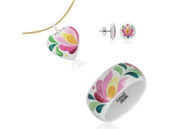 Rózsaszín matyó szív medál bedugós fülbevalóval és