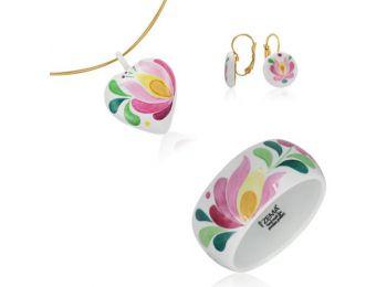 Rózsaszín matyó szív medál franciakapcsos fülbevalóva