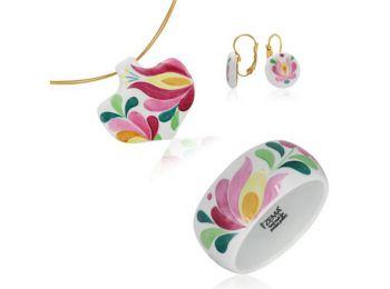 Rózsaszín matyó ásó alakú medál franciakapcsos fülbe