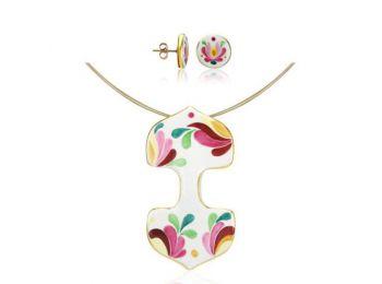 Rózsaszín aranyozott matyó dupla medál bedugós fülbevalóval