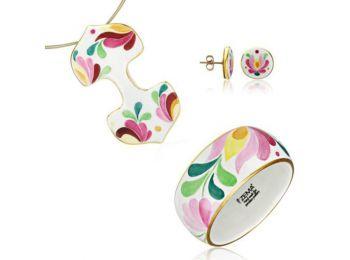 Rózsaszín aranyozott matyó dupla medál bedugós fülbeva