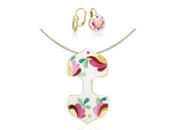 Rózsaszín aranyozott matyó dupla medál franciakapcsos f�