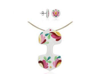 Rózsaszín matyó dupla medál bedugós fülbevalóval