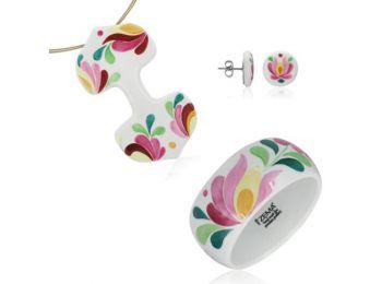 Rózsaszín matyó dupla medál bedugós fülbevalóval és