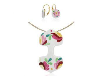 Rózsaszín matyó dupla medál franciakapcsos fülbevalóval