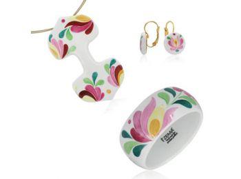 Rózsaszín matyó dupla medál franciakapcsos fülbevalóva