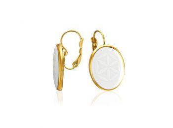 Minimal arannyal festett fehér, ovális fülbevaló (franciakapcsos)