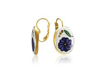 Palóc lila fülbevaló (franciakapcsos)
