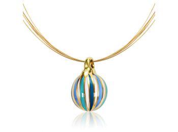 Arany kicsi gömb medál kék csíkokkal