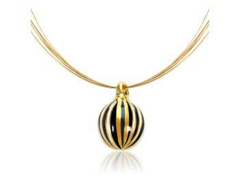 Arany kicsi gömb medál fekete csíkokkal