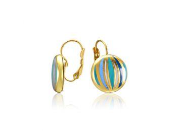 Kék csíkos arany kerek fülbevaló (franciakapcsos)