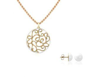 Aero fehér arany kis kerek medál bedugós fehér lencse fülbevalóval
