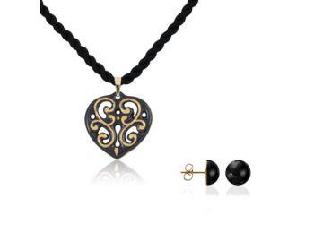 Aero fekete arany szív medál bedugós fekete lencse fülbe