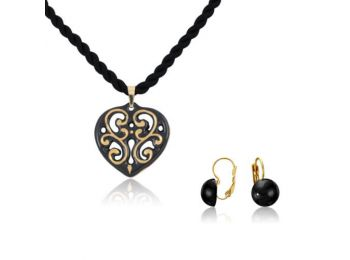 Aero fekete arany szív medál franciakapcsos fekete lencse fülbevalóval