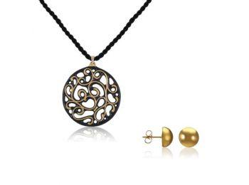 Aero fekete arany kis kerek medál bedugós arany lencse fülbevalóval