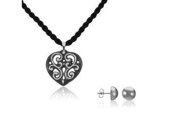Aero fekete platina szív medál bedugós platina lencse fülbevalóval