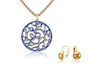 Aero kék arany kerek medál franciakapcsos arany lencse fülbevalóval