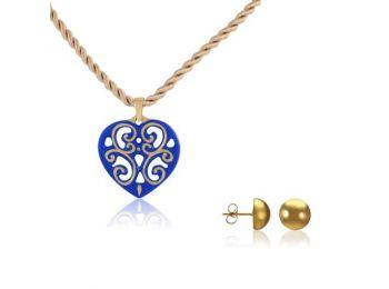 Aero kék arany szív medál bedugós arany lencse fülbeval