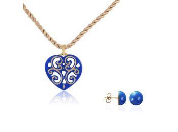 Aero kék arany szív medál bedugós kék lencse fülbeval�