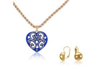 Aero kék arany szív medál franciakapcsos arany lencse fülbevalóval