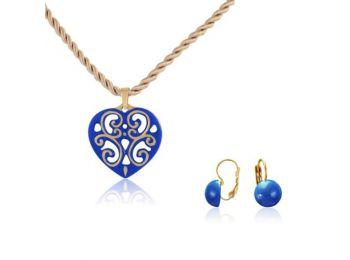 Aero kék arany szív medál franciakapcsos kék lencse fül