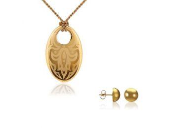 Simple arany tulipán medál bedugós arany lencse fülbevalóval