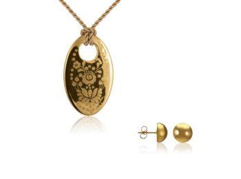Simple arany kalocsai medál bedugós arany lencse fülbeval