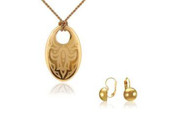 Simple arany tulipán medál franciakapcsos arany lencse fülbevalóval
