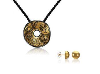 Simple arany fekete hullámos medál bedugós arany lencse fülbevalóval