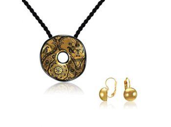 Simple arany fekete hullámos medál franciakapcsos arany lencse fülbevalóval