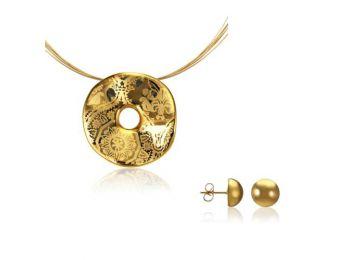 Simple arany hullámos medál bedugós arany lencse fülbevalóval