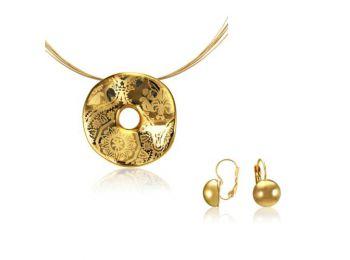 Simple arany hullámos medál franciakapcsos arany lencse f�