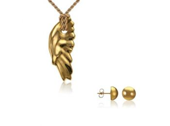 Simple arany angyalszárny medál bedugós arany lencse fül