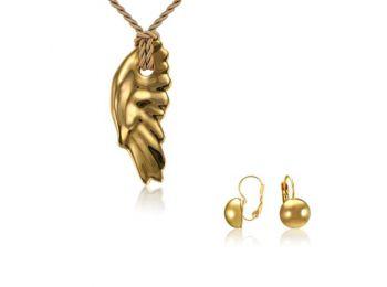 Simple arany angyalszárny medál franciakapcsos arany lencs